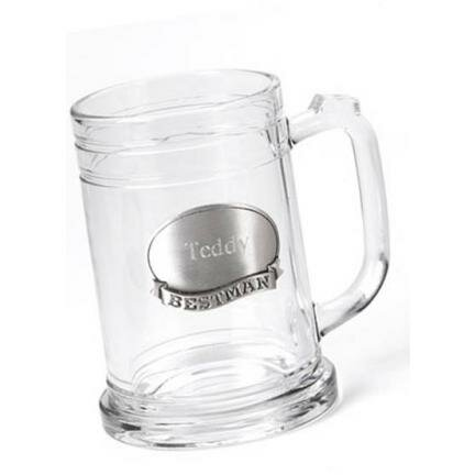 Best Man Pewter Medallion Glass Mug by JDS Personalized Gifts