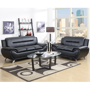 Hawking 2 Piece Living Room Set Leather Sets You ll Love  Wayfair