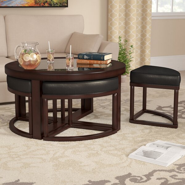 Landaverde Coffee Table With Nested Stools By Millwood Pines