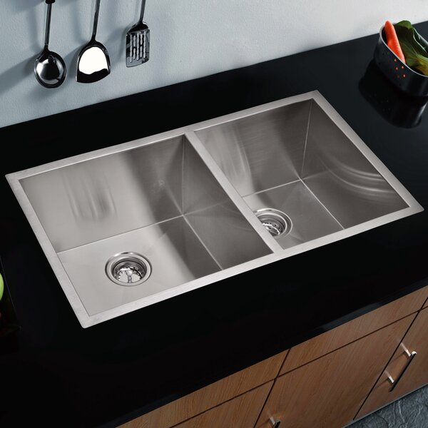 Zero Radius 60/40 Stainless Steel 33 L x 20 W Double Undermount Kitchen Sink with Drain, Strainer and Bottom Grid by dCOR design