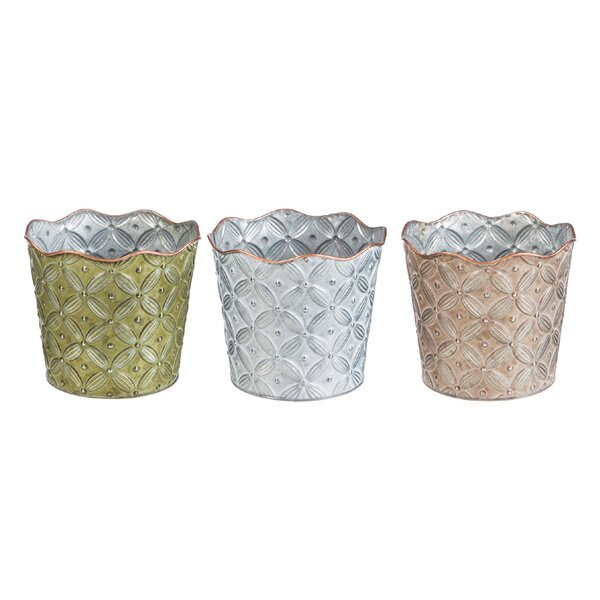 Leech Floral Metal Pot Planter (Set of 3) by Ophelia & Co.