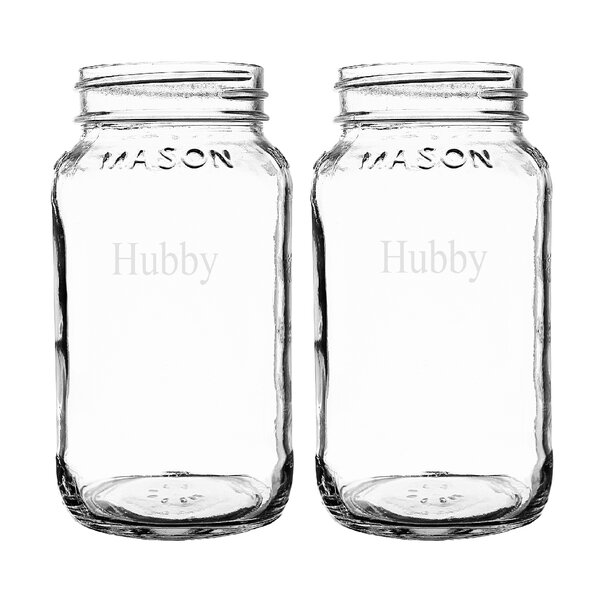 Mr. and Mr. Hubby & Hubby 26 oz. Mason Jar (Set of 2) by Cathys Concepts