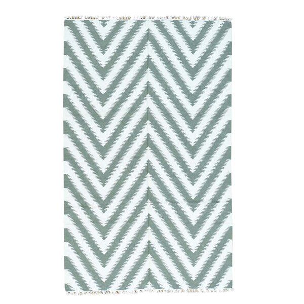 Zigzag Kilim Flat Weave Hand-Knotted Light Green Area Rug by Ivy Bronx