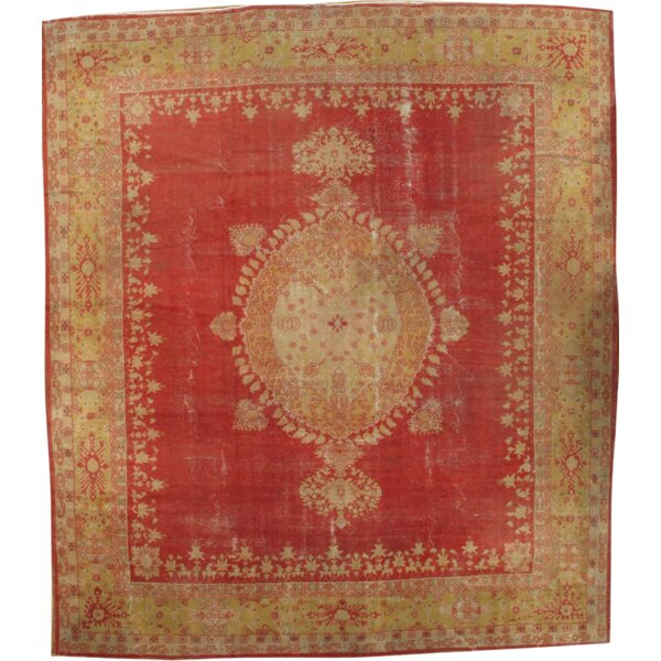 One-of-a-Kind Oushak Hand-Knotted Wool Coral/Ivory Area Rug by Pasargad NY