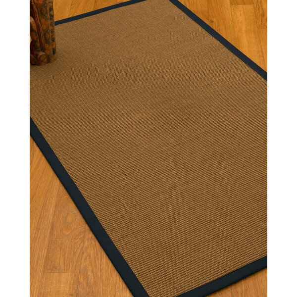 Huntwood Border Hand-Woven Brown/Midnight Blue Area Rug by Breakwater Bay