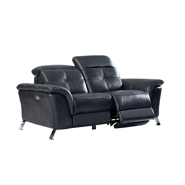 Tom Electric Leather Reclining Loveseat by Brayden Studio