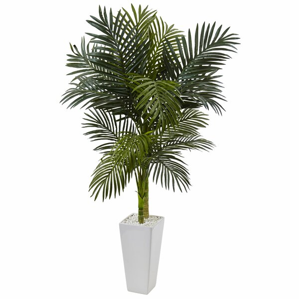Artificial Golden Cane Floor Palm Tree in Ceramic Planter by Bayou Breeze