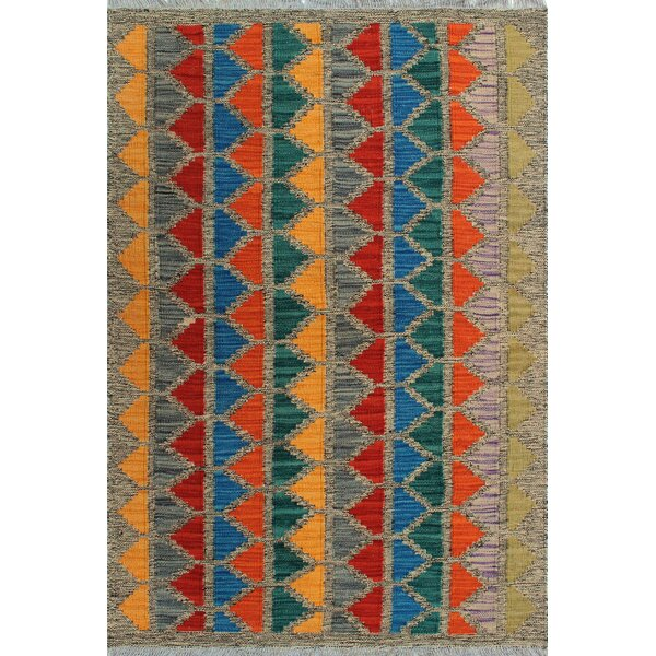 One-of-a-Kind Renita Kilim Hand-woven Wool Gray/Blue Area Rug by Isabelline