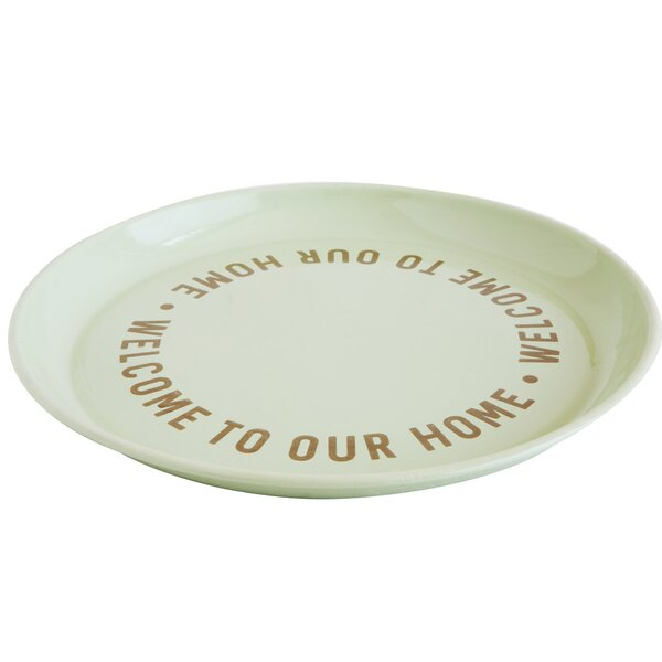 Haugen Welcome To Our Home Enameled Tin Platter by August Grove