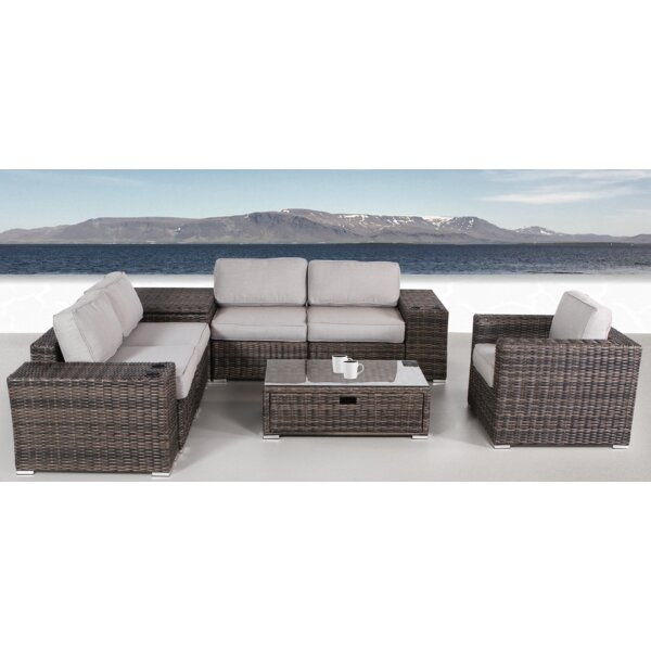 Nolen 8 Piece Rattan Sectional Set with Cushions by Latitude Run