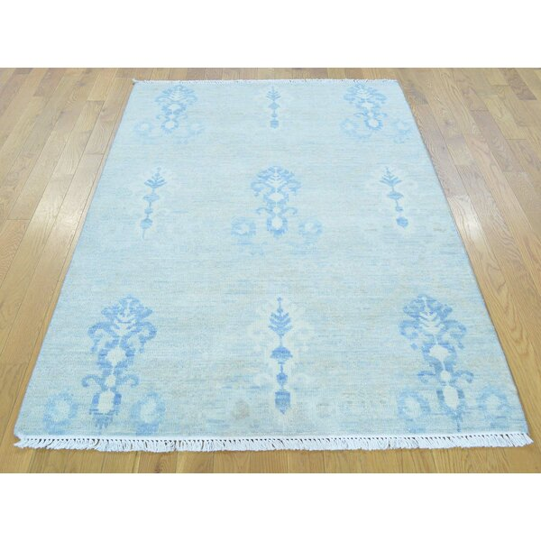 One-of-a-Kind Blythdale Washed Out Ikat Hand-Knotted Blue Wool Area Rug by Isabelline