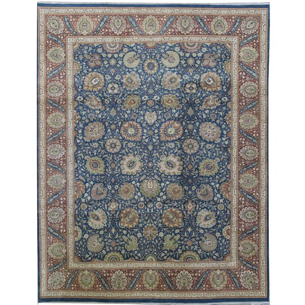 One-of-a-Kind Hand-Knotted Blue 9'1 x 11'7 Wool Area Rug