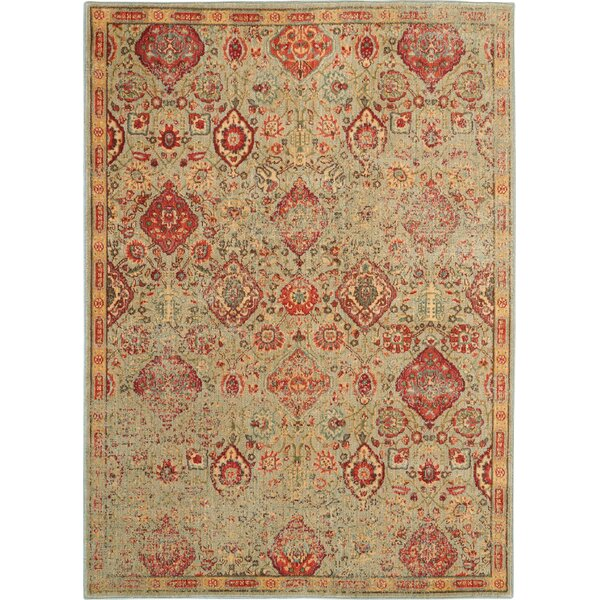 Lowndes Oriental Light Green/Red Area Rug by Bungalow Rose