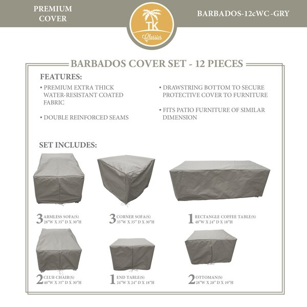 Barbados 12 Piece Water Resistant Patio Sofa Cover Set by TK Classics