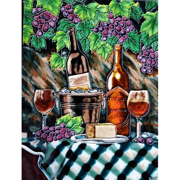 Blue Tablecloth Tile Wall Decor by Continental Art Center