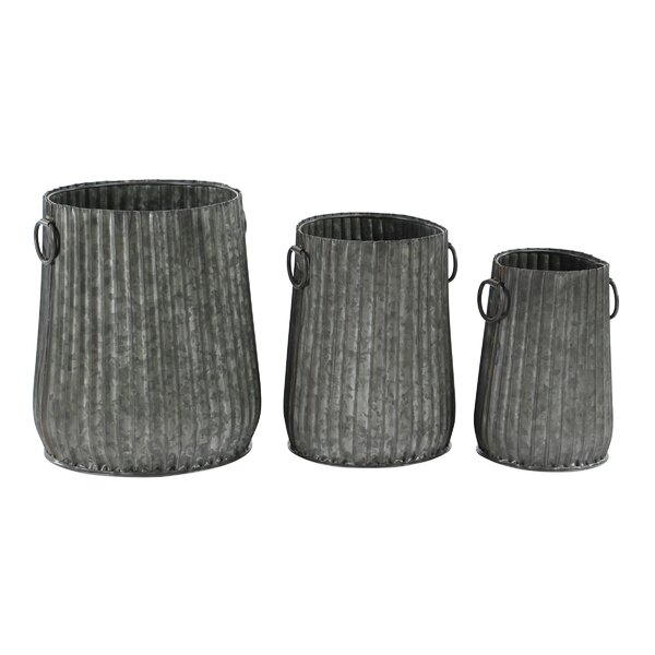 Kupang Industrial Corrugated 3-Piece Metal Pot Planter Set by Williston Forge