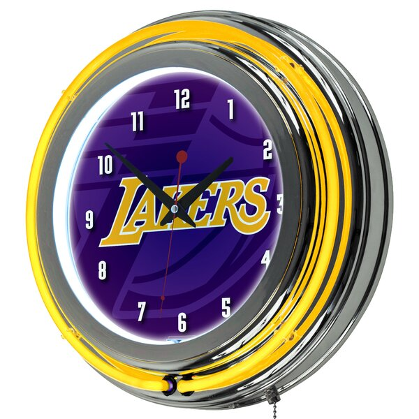 NBA Fade Neon 14.5 Wall Clock by Trademark Global