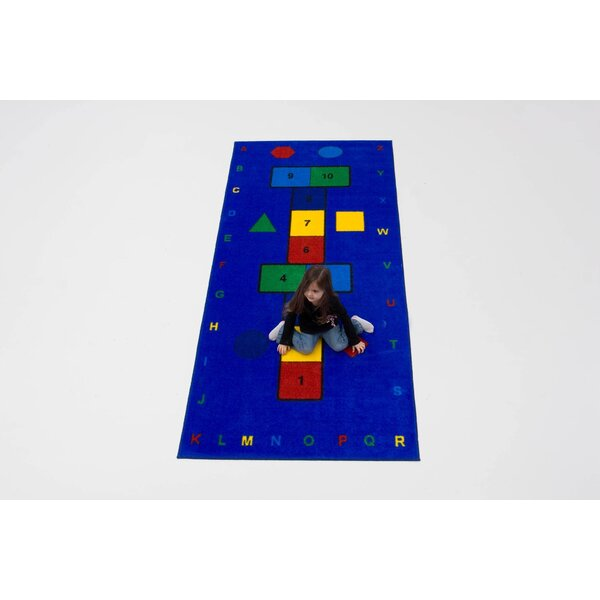 Hopscotch Blue/Yellow/Green Area Rug by Kids World Carpets