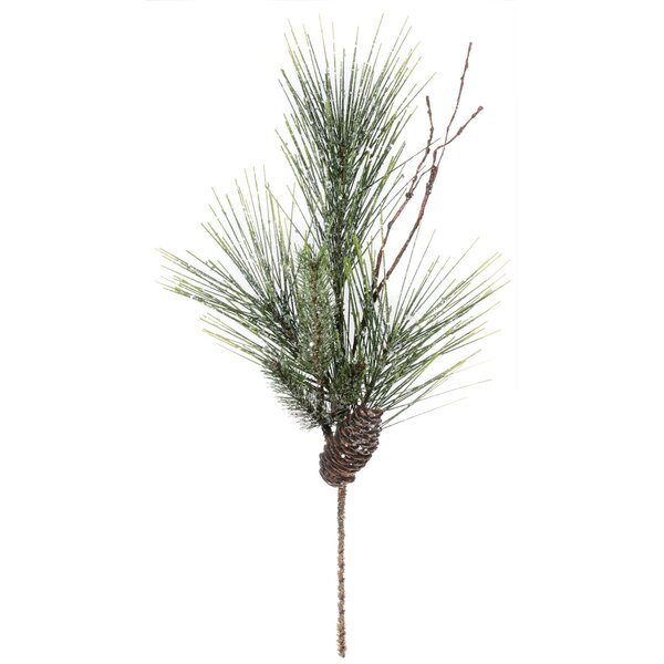 Iced Long Needle Pine and Cone Spray Foliage Plant (Set of 4) by The Holiday Aisle