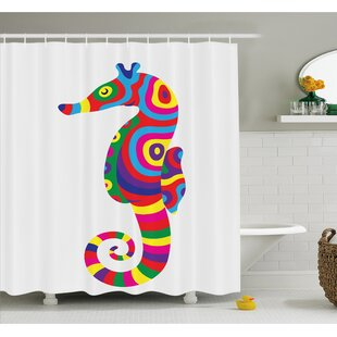 Best Deals Animal Graphic of Funny Several Colored Seahorse Fauna Bony Fish Retro Maritime Object Shower Curtain Set By Ambesonne