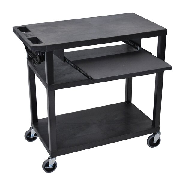 Presentation AV Cart with 4 Shelves and Pullout Shelf by Luxor