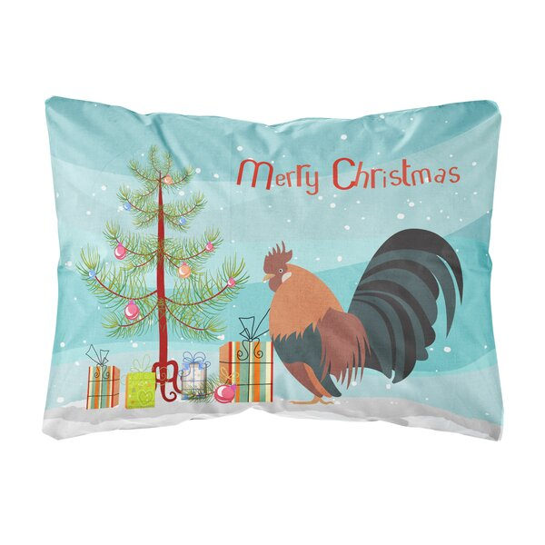 Nottingham Dutch Bantam Chicken Christmas Fabric Indoor/Outdoor Throw Pillow by The Holiday Aisle