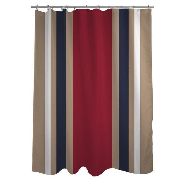 Americus Stripe Woven Polyester Shower Curtain by One Bella Casa