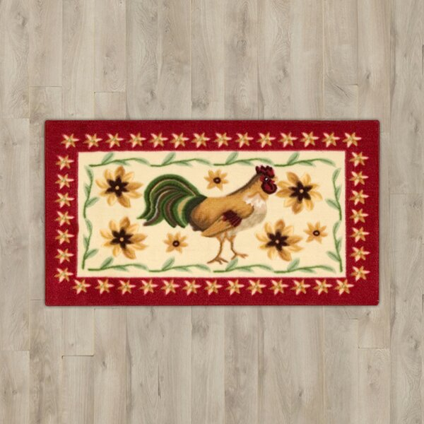 Lyn Beige Rooster Area Rug by August Grove