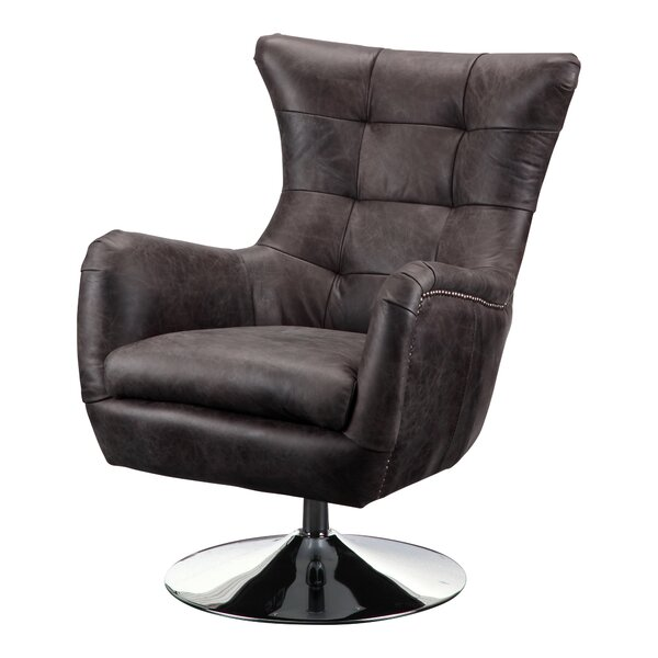 Brochu Leather Swivel Side Chair
