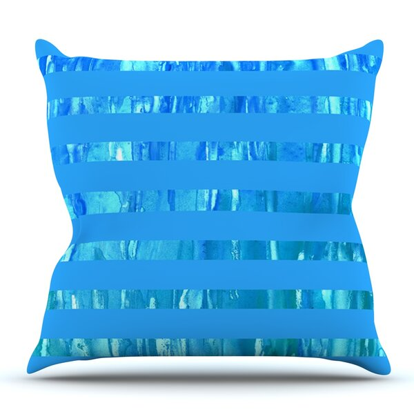 Wet Wild Stripes by Rosie Brown Outdoor Throw Pillow by East Urban Home