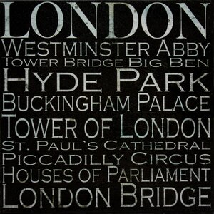 'London Typography Landmarks' Textual Art on Wrapped Canvas by Buy Art For Less