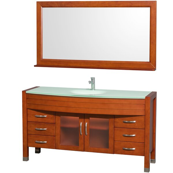 Daytona 60 Single Cherry Bathroom Vanity Set with Mirror by Wyndham Collection