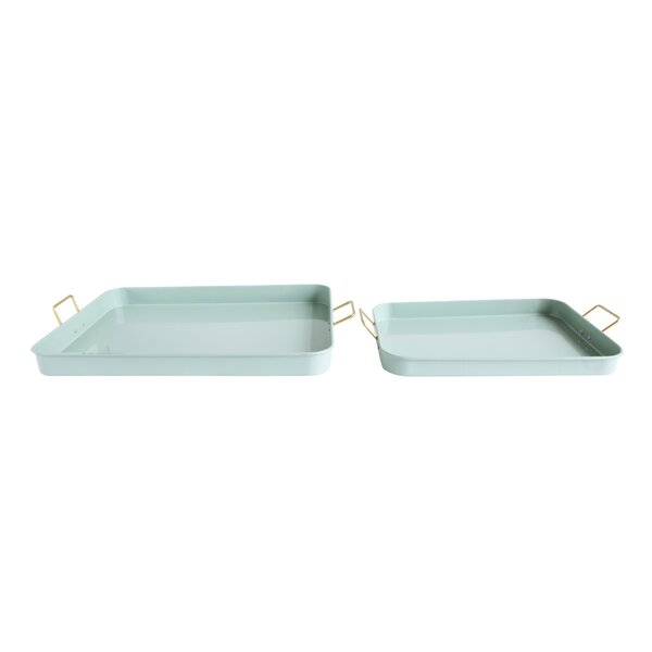 Kimes Metal 2 Piece Tray Set by Everly Quinn