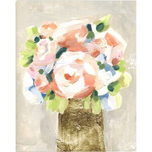 'Barcroft Coral Peonies' Painting Print on Wrapped Canvas by Willa Arlo Interiors