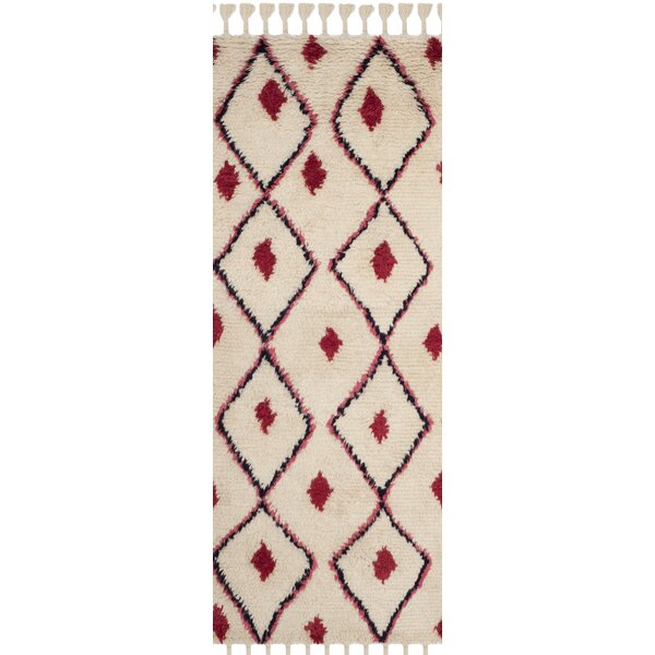 Lockheart Hand-Tufted Beige/Red Area Rug by Mistana