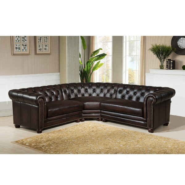 Batey Leather Symmetrical Sectional By Alcott Hill