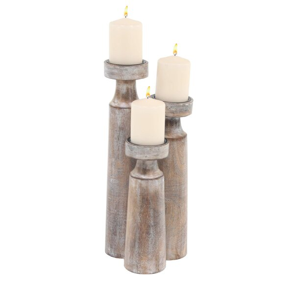 Rustic Cylindrical 3 Piece Candlestick Set by Mist