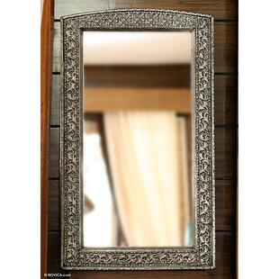 Novica Luxury Fair Trade Repousse Brass Accent Mirror