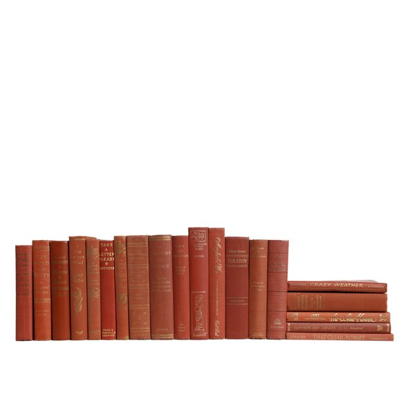 Authentic Decorative Books - Custom Set Coral & Gilt Book Set, Set of 20 by Booth & Williams