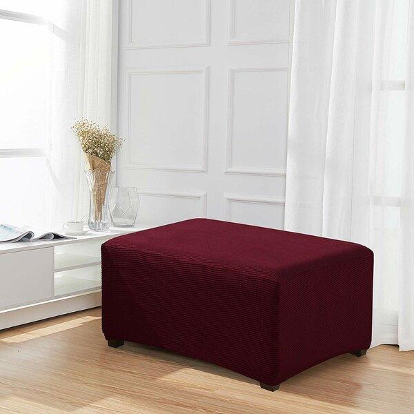 Review Jacquard Stretch Fabric Oversized Box Cushion Ottoman Slipcover