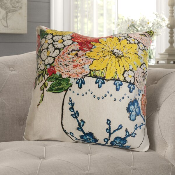 Stattman Floral Embroidery Cotton Throw Pillow by August Grove