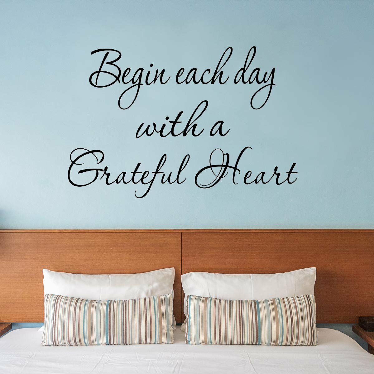 Begin Each Day with a Grateful Heart Vinyl Quotes Wall Decal