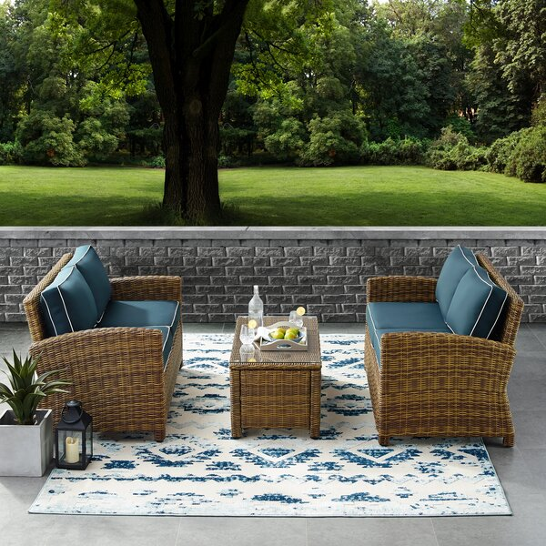 Lawson 3 Piece Rattan Sectional Seating Group with Cushions by Birch Lane™ Heritage