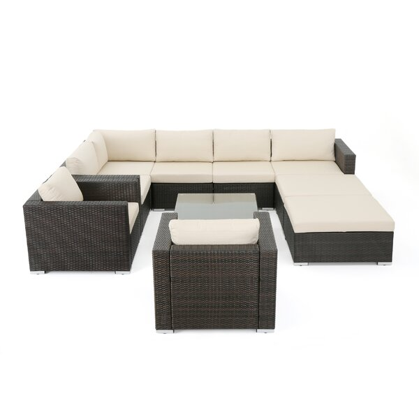 Cabral 10 Piece Rattan Sectional Seating Group with Cushions by Sol 72 Outdoor