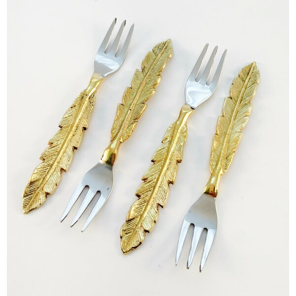 Provenzano Feather Design Salad/Dessert Fork (Set of 4) by Bungalow Rose