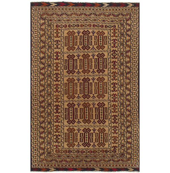 One-of-a-Kind Mcdonell Hand-Woven Wool Tan/Red Area Rug by Bloomsbury Market