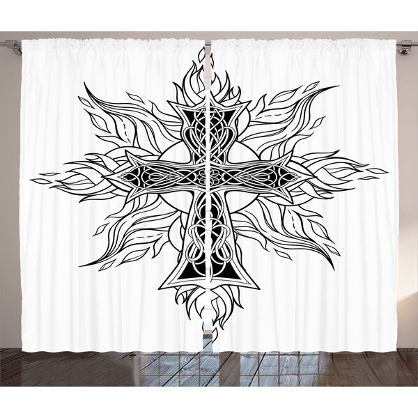 Jeanetta Celtic Graphic Print and Text Semi-Sheer Rod Pocket Curtain Panels (Set of 2) by Latitude Run
