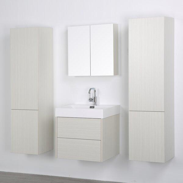 24 Wall-Mounted Single Bathroom Vanity Set with Mirror by Streamline Bath