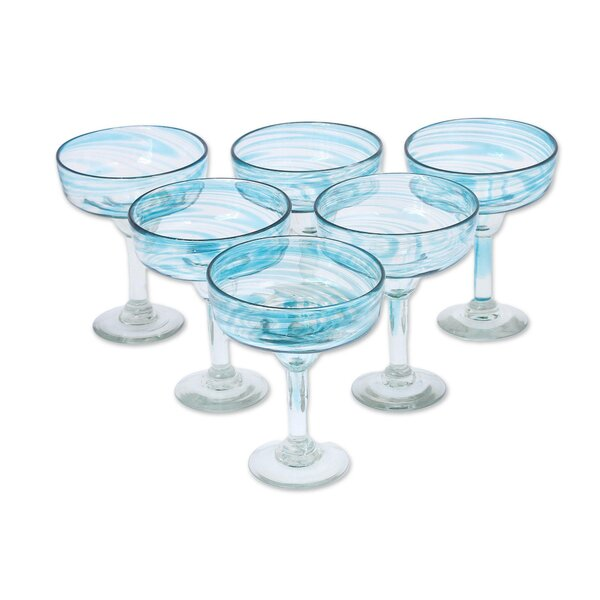 Bernardo Cerulean Threads 5 oz. Glass Margarita Glass (Set of 6) by Highland Dunes