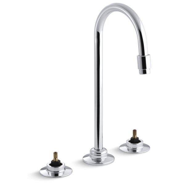 Triton Widespread Commercial Bathroom Sink Faucet with Flexible Connections and Gooseneck Spout, Requires Handles by Kohler